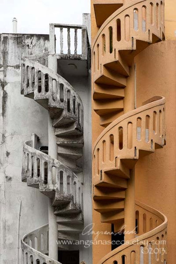 Spiral staircase pictures, conservation, architecture, winding stairs, heritage, white, peach, Singapore, 8x12, wall decor, Gift guide