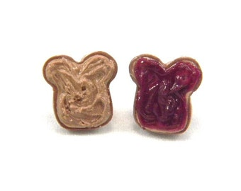 Peanut Butter and Jelly Earrings, Stud, PB and Grape Jelly Posts
