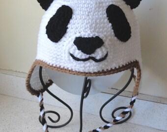 Panda Bear Earflap Hat Crochet Pattern : Totoro Hat Inspired Hand crochet Mens by scotako on Etsy