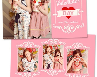Valentine's Day Card Template for Photographers Valentines Day Photo Card Photoshop Card Template - VD103