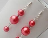 Red Pearl Earrings, Pearl Dangle Earrings, Pearl Drop Earrings, Coral Earrings, Coral Dangle Earrings, Coral Pearl Earrings, Long Pearl