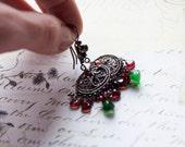 Sterling Silver Chandelier Earrings  Garnet and Green Hydro Quartz Earrings Vintage Look Earrings