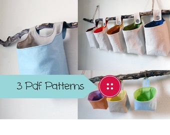 SALE - Three Basket Patterns, PDF Sewing Patterns, Hanging Basket Pattern Collection, Digital Downloads