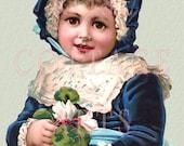 "Digital Download ""Girl in Blue Velvet"" Antique Die Cut Victorian Scrap Graphic Image"
