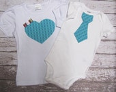 Big sister, little brother shirt and bodysuit set, tie for him heart for her, matching, blue, photo prop, gift, child fashion