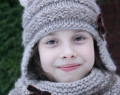 Knitting pattern - Mia Kitty Earflap Hat - Toddler, Child and Adult sizes / Cat earflap hat