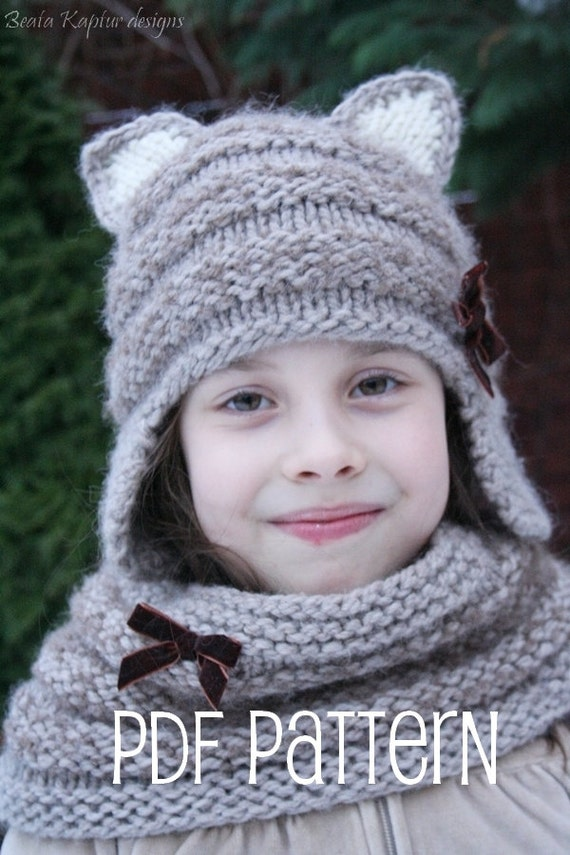 Knitting Pattern For Kitty Hat : Knitting pattern Mia Kitty Earflap Hat Toddler Child and