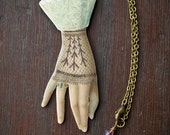 Victorian Hand Necklace - Victorian Ephemera - Antiqued Brass - Unique Quirky  - Shrink Plastic