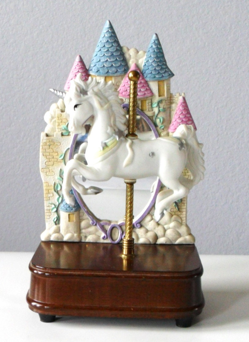 Vintage Unicorn Music Box Carousel Music Player Porcelain