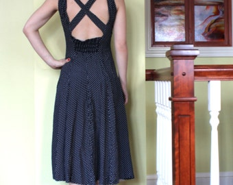 Vintage maxi polka dress - navy and white - cross back