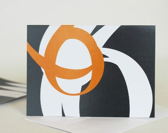 Mid Century Modern Blank Cards, Abstract Orange and Gray Number Card Set, Gift For Graphic Designer, All Occasion Cards - A7S108