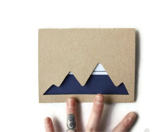 Laser Cut Card: SNOW CAP MOUNTAIN Stripes--custom message