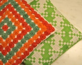 Pair Vintage Pillows Handmade Quilt Green Red Orange Throw Pillows 1960s