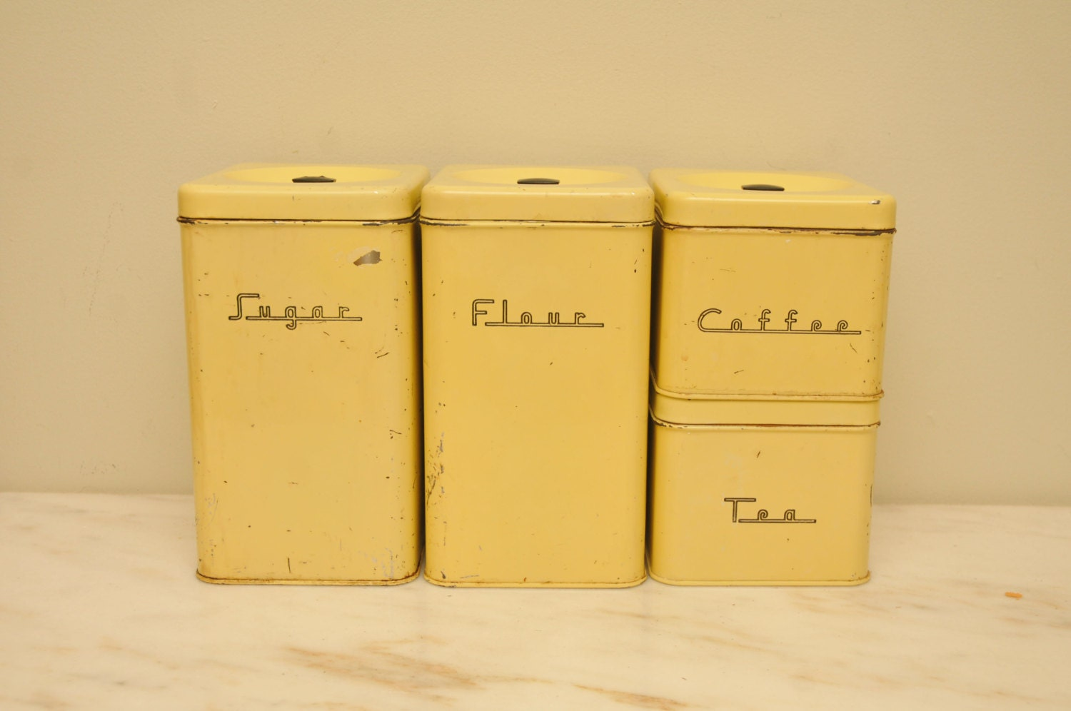 Vintage 1950s yellow kitchen canister set 4 black bakelite for Kitchen set yellow