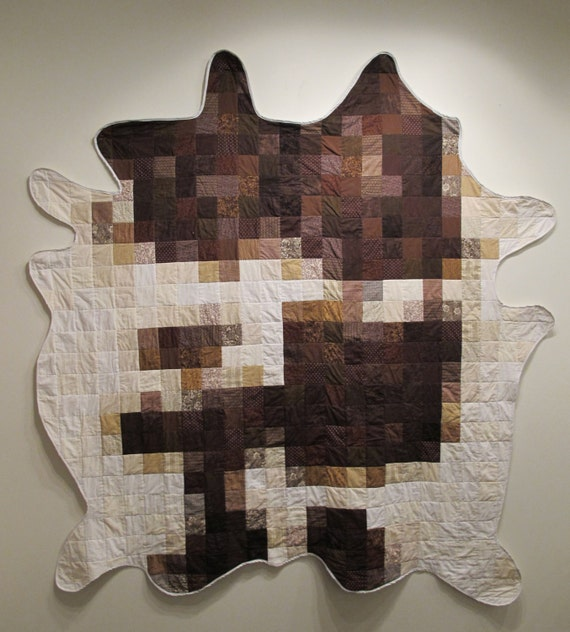 Cow Hide Quilt - original hand made one of a kind quilt or wall hanging - spotted brown and white cow hide fine art