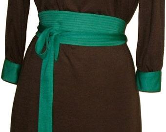 Jersey Dress, Boatneck Dress, Sheath Dress, Colorblock Dresss, Long Sleeve Dress w/Obi Belt in Chocolate and Emerald Soft Jersey, OOAK