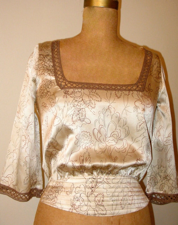 SALE, Silk Art Deco Inspired Blouse with Quilted Waist & Crochet Trim in Antique Floral Print, Silk Blouse, Floral Blouse.