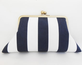 Big Navy Blue White  Kiss Clutch