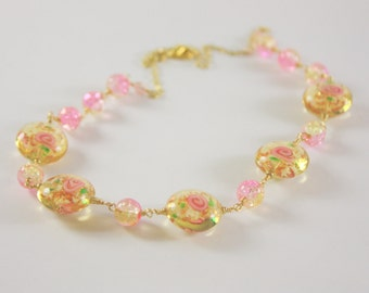 Pink Rose and Gold Necklace