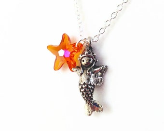 Mermaid Fairy Necklace with Orange Crystal Starfish