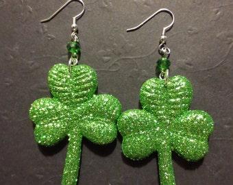 Lucky Gem - Glittery Shamrock Earrings
