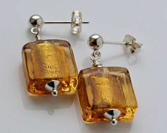 Topaz gold shimmer earrings genuine Murano glass 925 silver beads sterling silver drop stud dangly womans gift jewellery