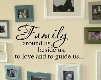 FAMILY Beside us, around us, to love and to guide us PIcture Wall Display Home VInyl Wall Lettering Words Decal LARGE 38wx22h