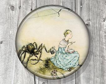 Pocket Mirror - Little Miss Muffett - Spider Photo Mirror - Compact Mirror Vintage Storybook Illustration - gift under 5 - party favor A137