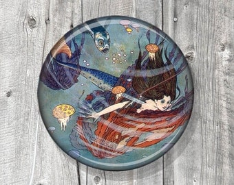Pocket Mirror - Mermaid Sea Creatures - Anime - Blue Red - Photo Mirror - Compact Mirror Vintage Mermaid Illustration - party favor A59