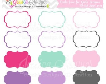 INSTANT DOWNLOAD,  just for girls labels, tag clipart,  printable labels,  pink, purple, cards, invitations, scrapbook,  digital frames