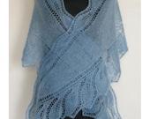Scarf Blue Grey Kidsilk Hand Knitted Lace Shawlette. Leafy Kid Silk Shawl.  MADE TO ORDER.