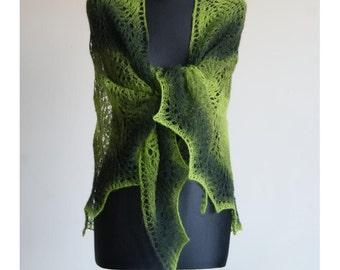 Sale Green Lace Scarf Hand Knitted. Triangular Shawl Estonian Wool Kauni Colorfull. READY TO SHIP.