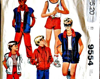 Children's Boy's Jacket Vest Top Pants or Shorts Vintage Sewing Pattern McCall's 9554 Size 7