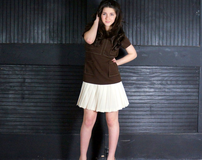 Scooter Dress 1960s Vintage Drop Waist Knife Pleat Mini Skirt SMALL Wear to Work Brown Top Cream Pleated Skirt Scooter Dress Eve Le Coq USA