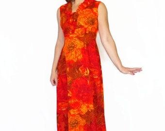 60s Hawaiian Dress. Red Orange Maxi Dress. Summer Dress. Floral Print. Beach Dress. Mad Men Dress. Beach Wedding.