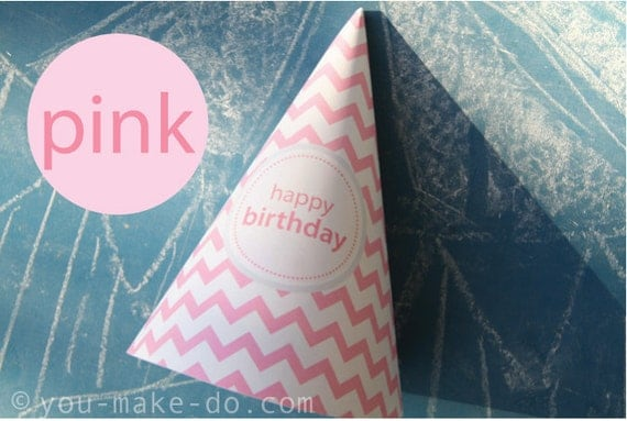 Instant Download Pink Party Hat Printables Party Printables