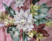 "2 Pieces of 1940s Barkcloth, Hemmed, Pink with Magnolia Blooms, Heavy Weight, 22X36 and 42 X 72 with 2""hems SOME STAINS"