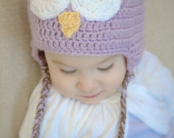 Purple Owl Hat - Crochet Owl Hat - Girls Owl Hat
