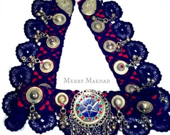 Lapis Star belly dance belt - OOAK ATS, Tribal Fusion belt with Kuchi pendant, Waziri buttons, Turkoman amulets and bells
