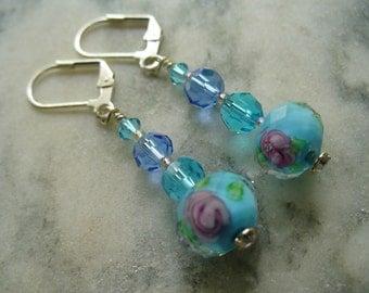 Blue Flower Earrings, Crystal Beaded Earring, Womens Jewelry, Silver Earrings, Blue Earrings, Christmas Gift