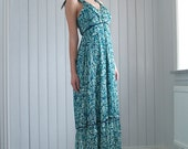 Empire waist dress - Long maxi dress - bohemian summer dress - Floral print