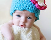 Baby Girl Hat 0 to 3 Month Bright Blue Baby Hat Baby Girl Clothes Baby Girl Beanie Baby Shower Gift Baby Girl Gift Crochet Flower Hat Pink