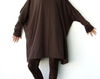NO.62 Brown  Cotton Jersey Oversized T-Shirt Tunic Sweater, Women's Top
