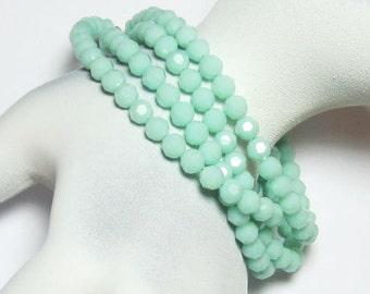 Bracelet Mint Alabaster Swarovski Crystal Multi Strand Wrap Beaded