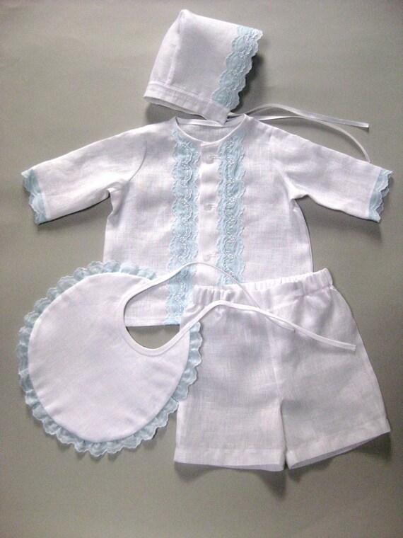 Newborn boy linen outfit baptism christening boy suit baby
