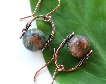Green stone earrings - copper wire wrapped unakite gemstone bead