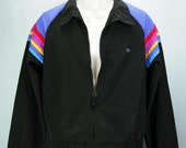 VTG Navy Blue and Rainbow Colors 70s -OCEAN PACIFIC- Jacket  S