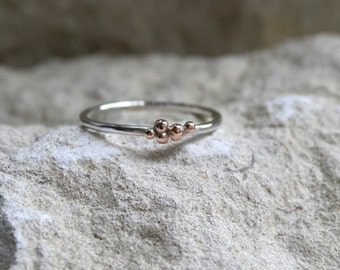 Rosie Drops sterling silver band 9ct rose red pink or gold alternative Wedding/engagement ring, Fiona Lewis custom handmade in UK