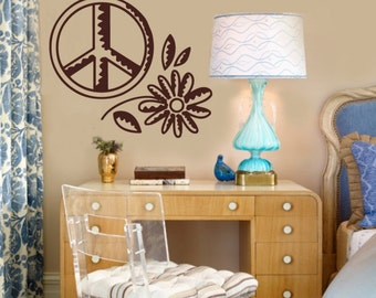 Peace and Happiness Vinyl Wall Graphics Decal LARGE 25W x 22h