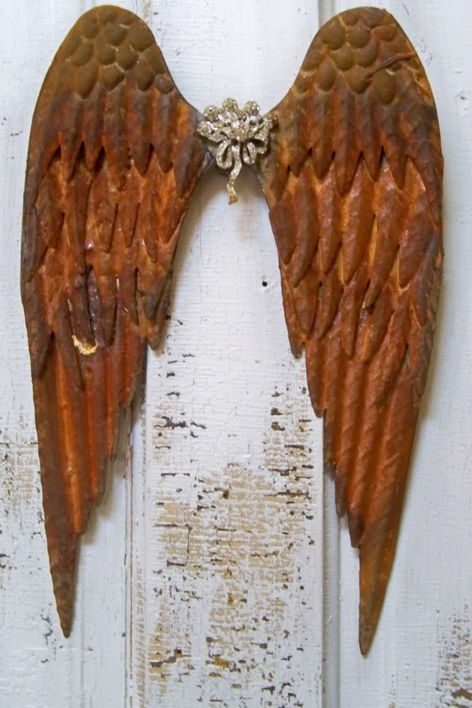 Metal Wall Art Angel Wings : Rusted metal angel wings wall sculpture with rhinestone broach